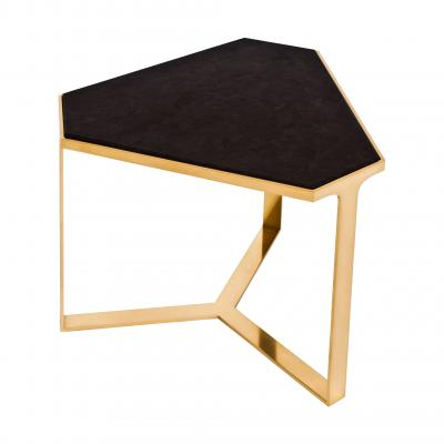 Forma Table - SATIN BRASS/ANTIQUE STONE TOP