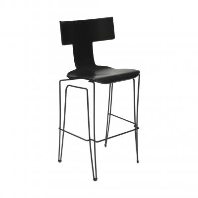 Anziano Bar Chair - MIDNIGHT LEATHER